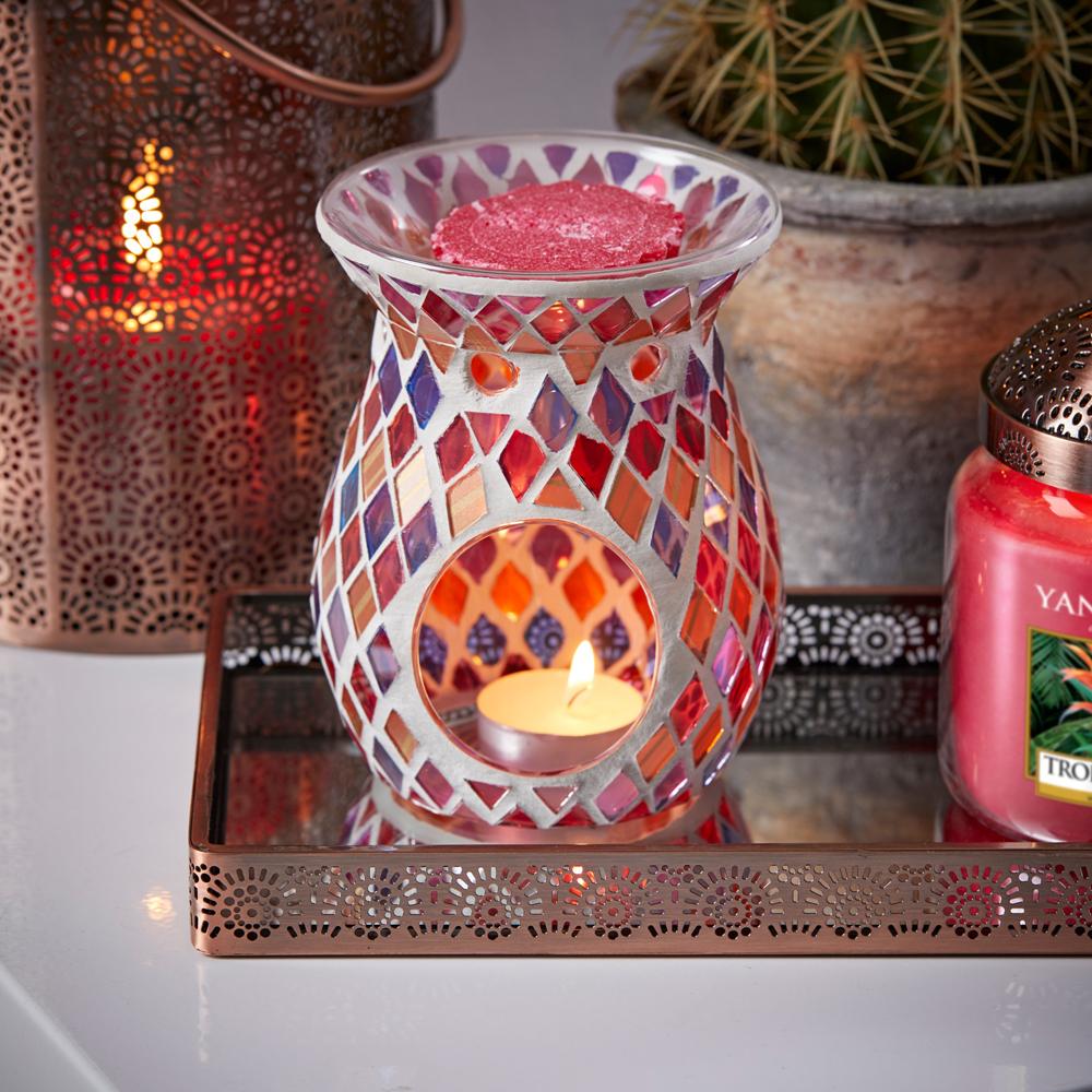 bruleur a bougie huile mosaique rouge orange yankee candle nouveauté just go