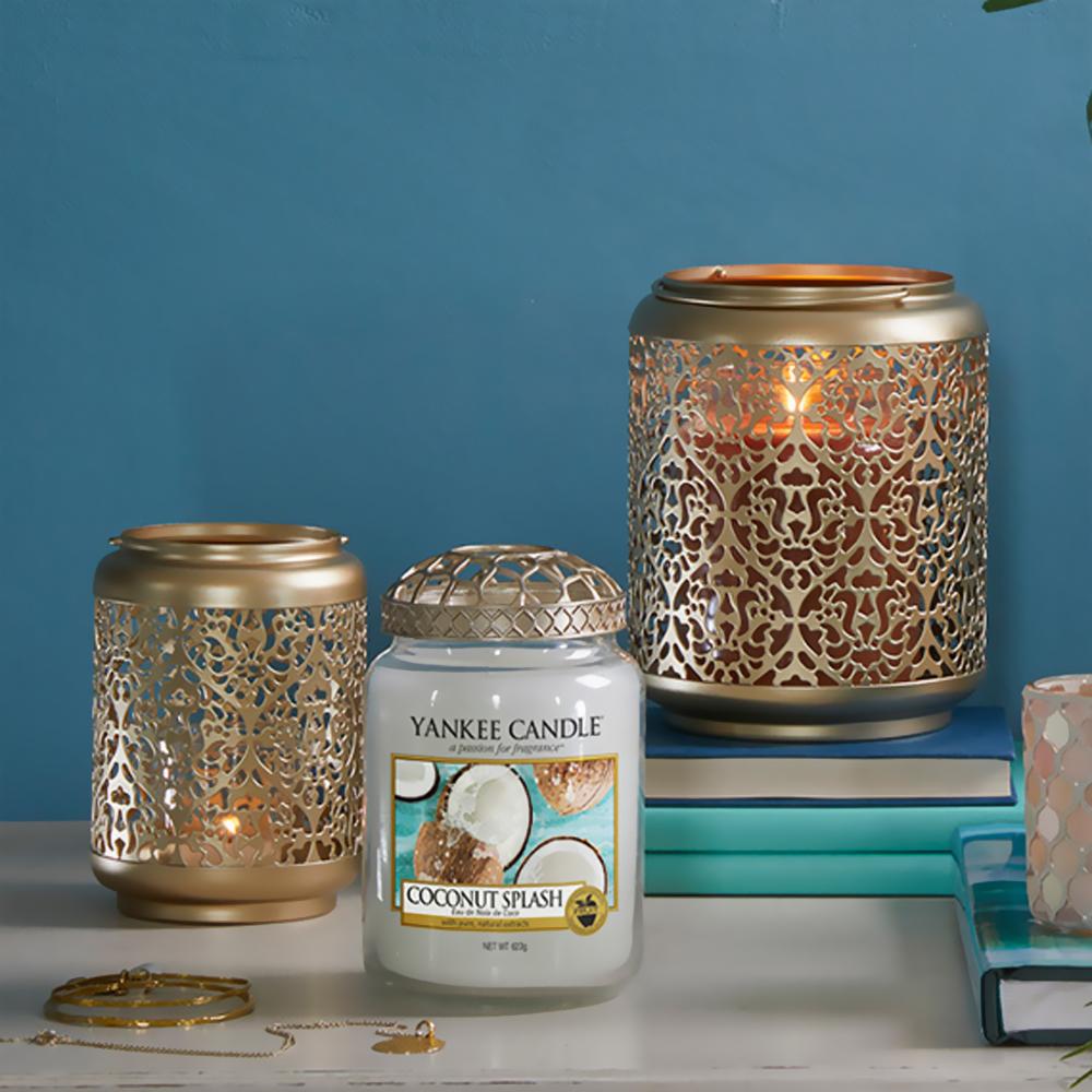 lanterne ajourée bougie yankee candle photophore bougie doré ajouré