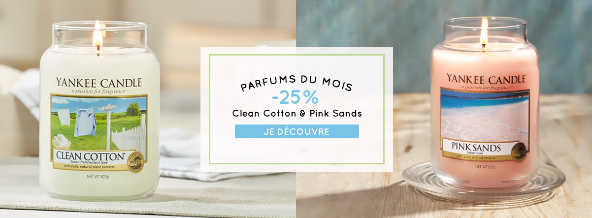 parfums du mois promotion clean cotton pink sands yankee candle
